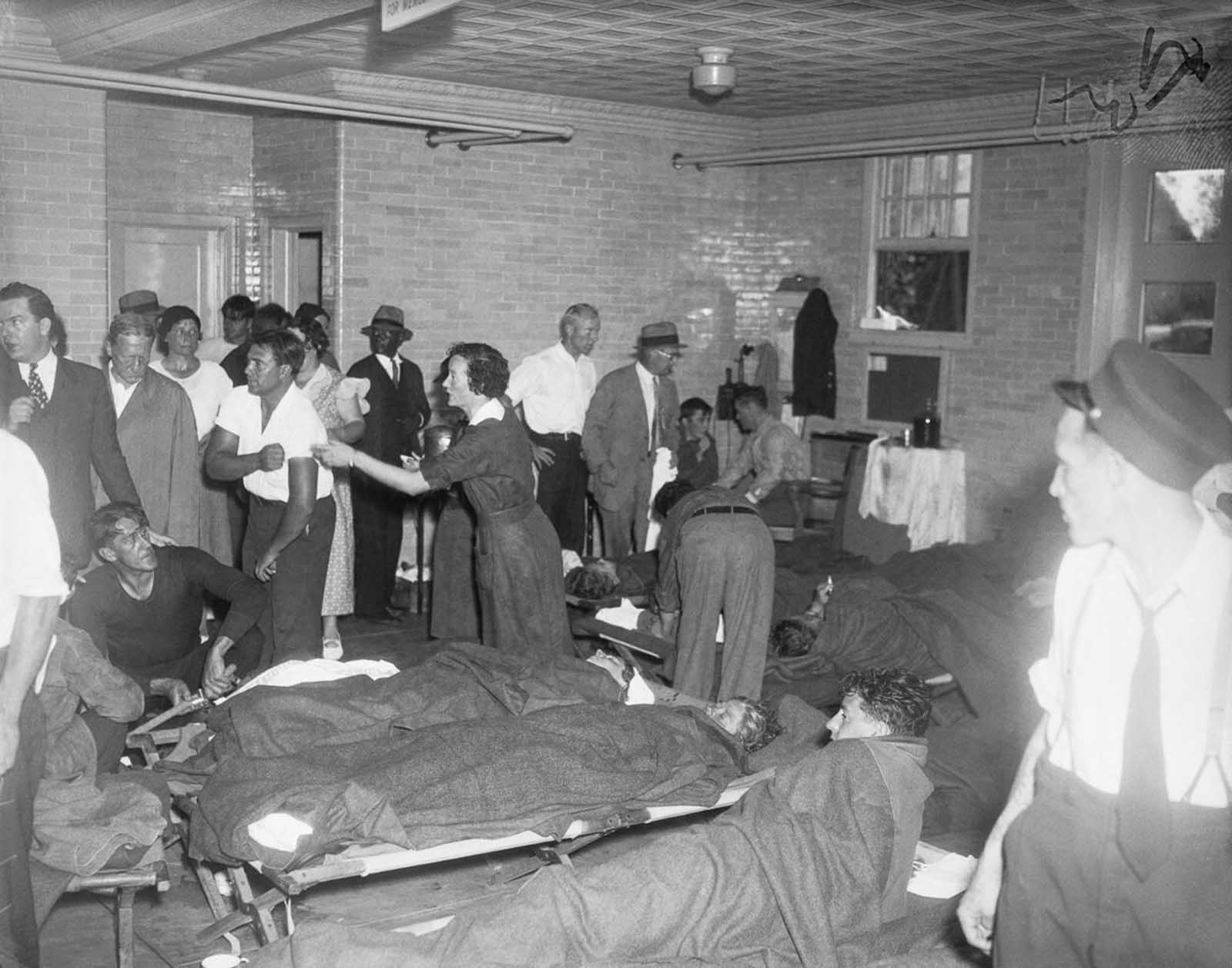 Survivors are treated in the Spring Lake, New Jersey firehouse.