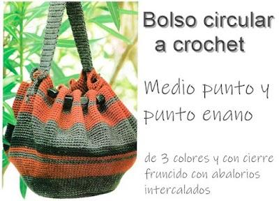 Bolso circular de crochet cierre fruncido abalorios