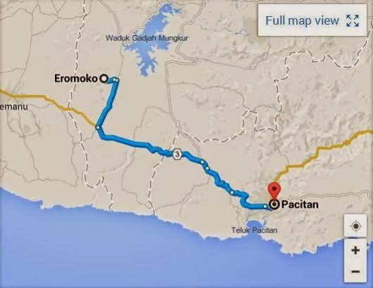 rute dan peta perjalanan pacitan eromoko wonogiri