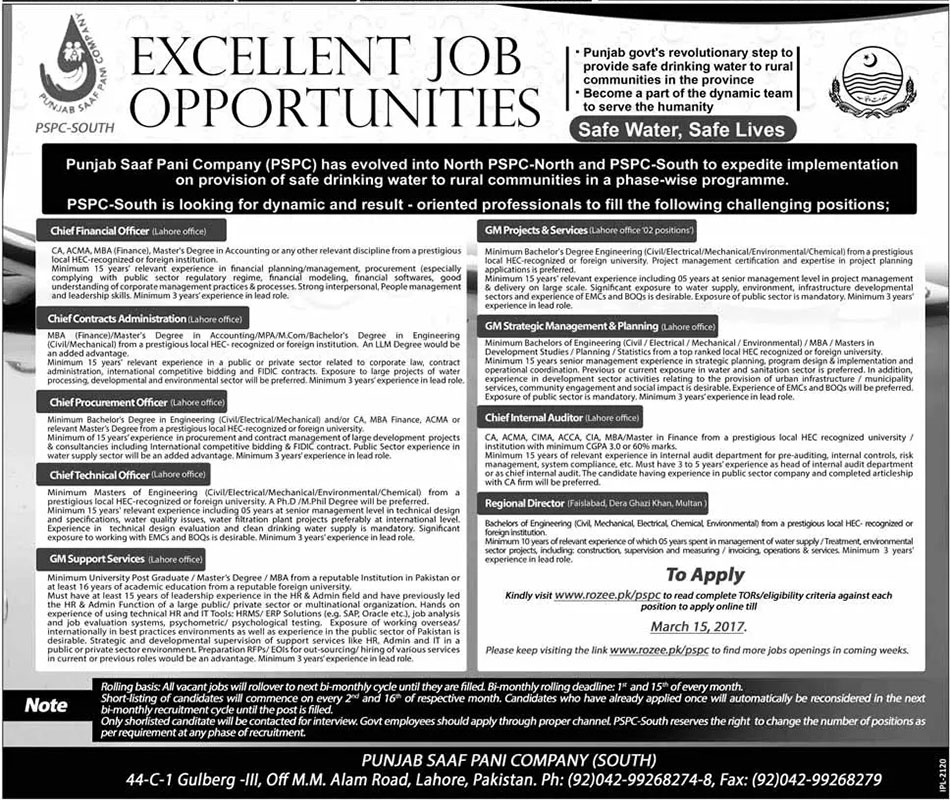 Punjab Saaf Pani Company Lahore Jobs on 01 March, 2017