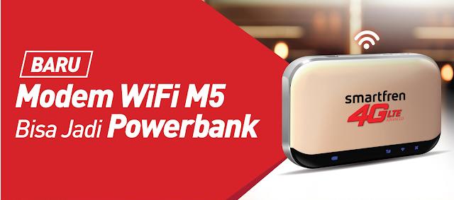 modem wifi M5 Smartfren bisa jadi powerbank
