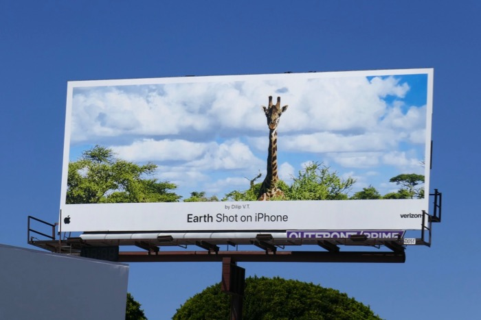 Earth Shot on iPhone Dilip VT Giraffe billboard