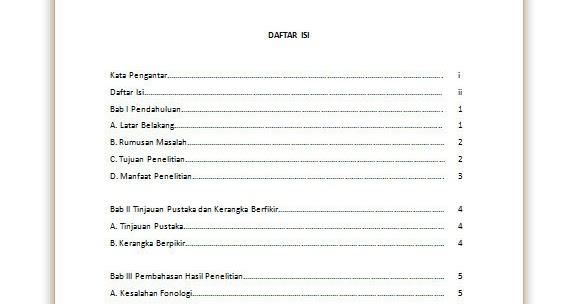 Contoh Daftar Isi Makalah Dengan Format Tabel Microsoft Word Contoh Makalah Docx