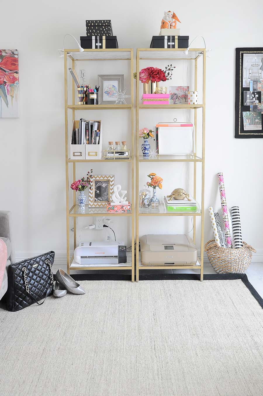 How to style IKEA VITTSJO shelves in a home office space. Love the decor and DIY ideas.