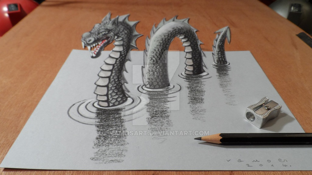 10-Loch Ness Monster-Sandor-Vamos-3D-Optical-Illusions-Anamorphic-Drawings-Videos-www-designstack-co
