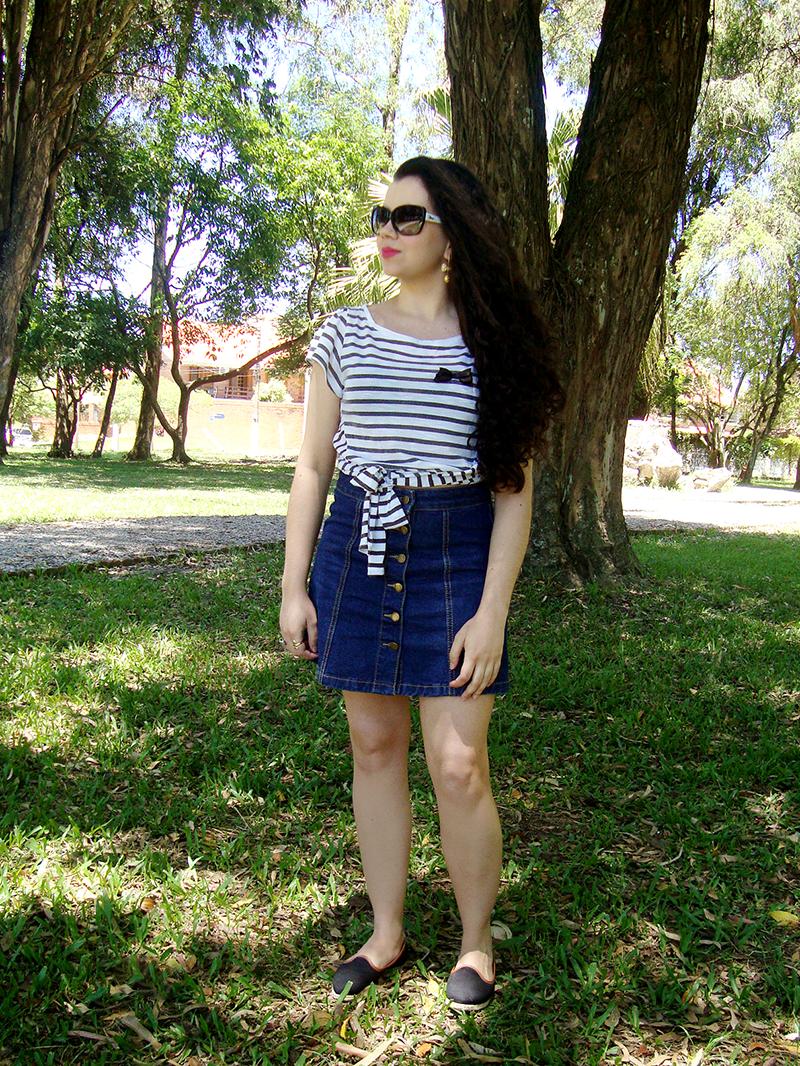 Look Saia Jeans de Botões