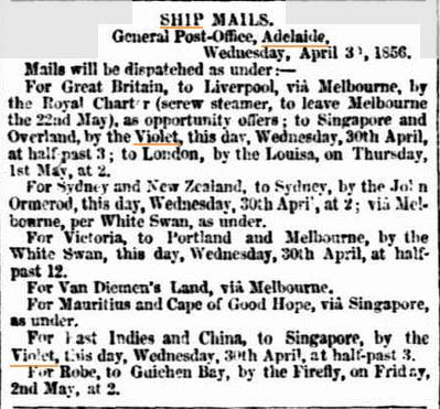 Backtracking: Voyage to Australia: the ship 'Violet'