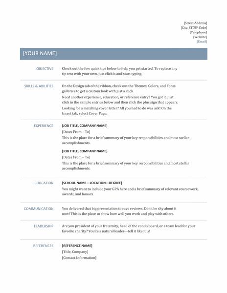 microsoft word basic resume timeless design