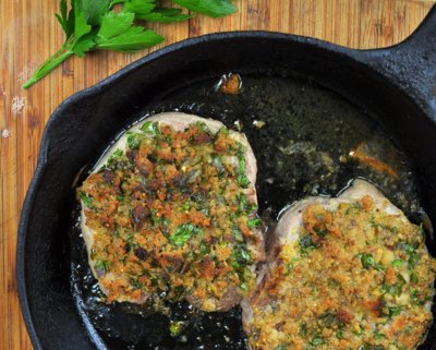 Thick Iowa Chops with Easy Stuffing Crust ♥ KitchenParade.com, just top pork chops with mustardy bread crumbs, then bake.