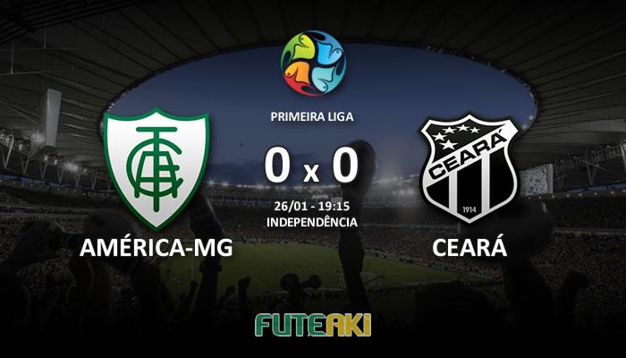 Veja o resumo da partida com os gols e os melhores momentos de América-MG 0x0 Ceará pela Primeira Fase da Primeira Liga 2017.