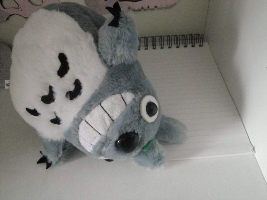 My cuddly Totoro toy lying down against a reporter's notepad.