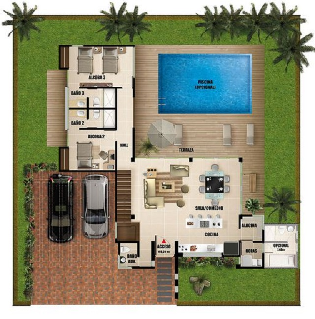 Plano de casa moderna con piscina planos de casas gratis for Casa moderna 90m2