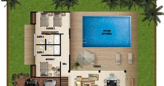 Plano de casa moderna con piscina planos de casas gratis for Planos de piscinas temperadas