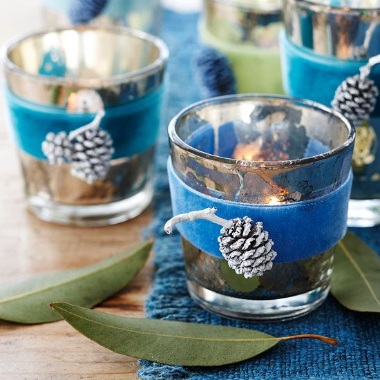 lovely green and blue Christmas candle holders