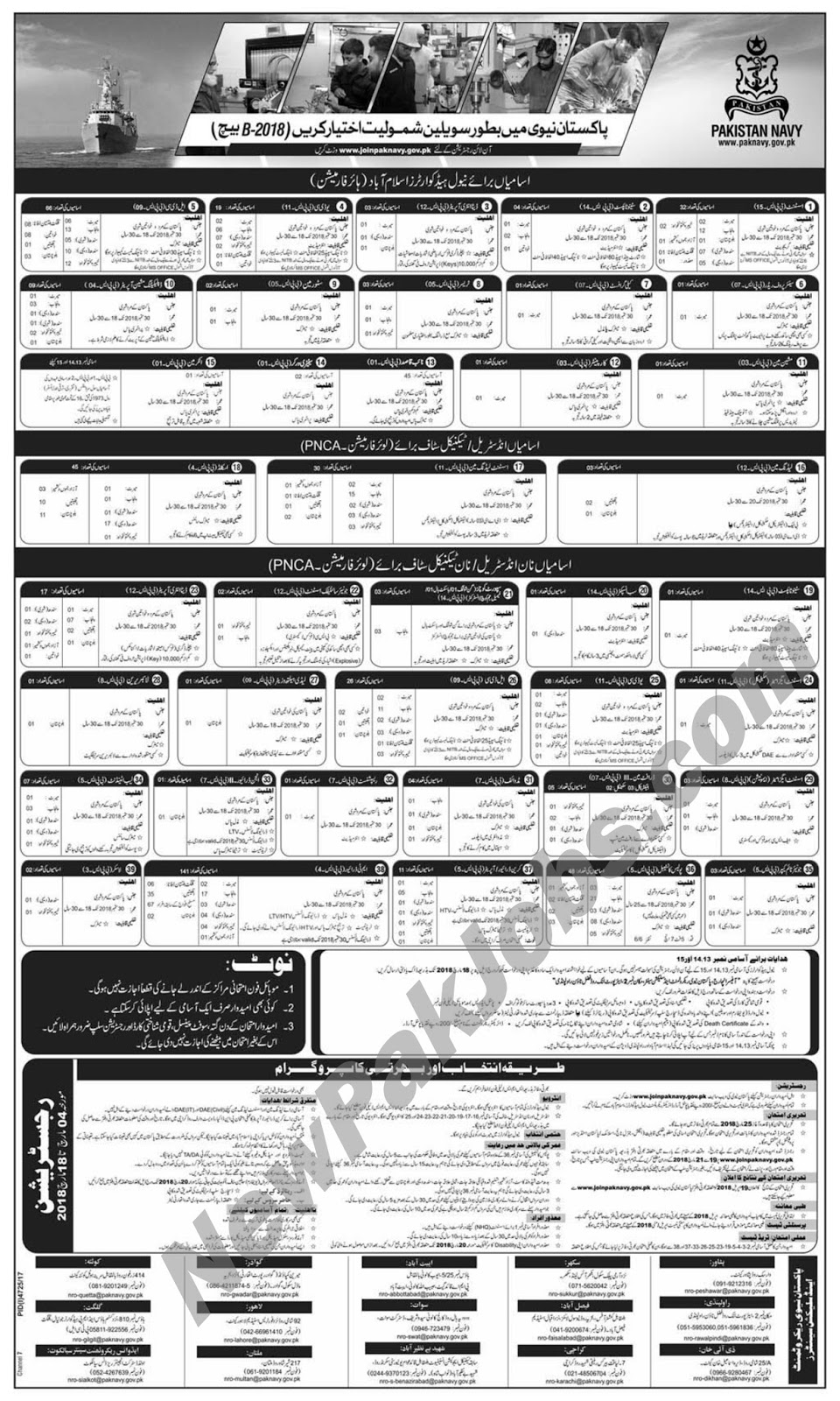 Join Pakistan Navy as civilians for Batch B-2018, latest March 2018 Jobs