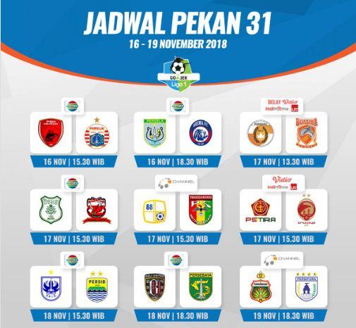 Jadwal Siaran Langsung Pekan ke-31 Liga 1 2018