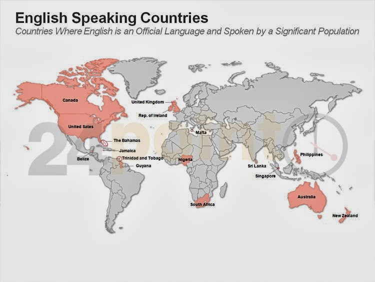 Map english speaking countries world map countries on english is an official language and widely spoken ppt slide gumiabroncs Choice Image