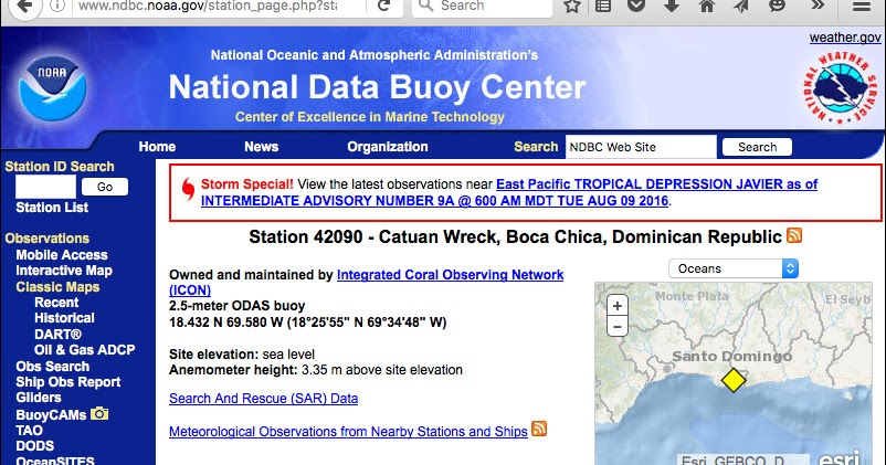CWDR1 Catuan Wreck CREWS/CCCCC Buoy Field Log: met data from this