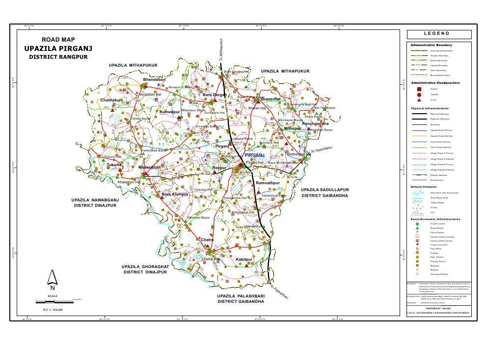 Pirganj Upazila Road Map Rangpur District Bangladesh