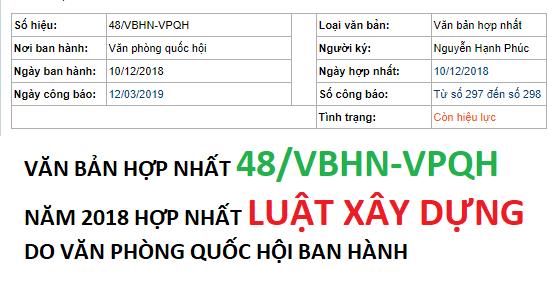 HỢP NHẤT LUẬT XÂY DỰNG DO VĂN PHÒNG QUỐC HỘI BAN HÀNH