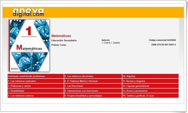 """Anaya Digital: """"Matemáticas de 1º de Secundaria"""