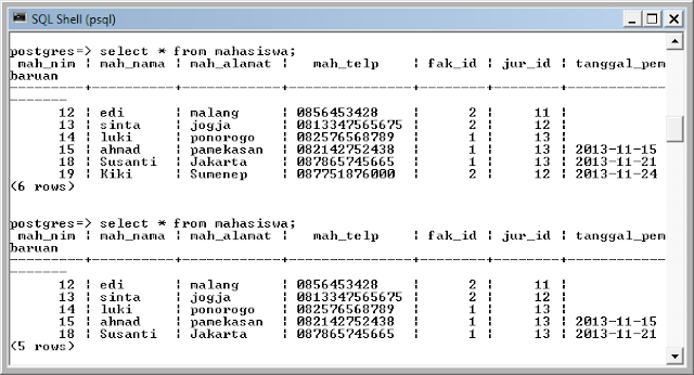 Kelas Informatika - SQL Shell PostgreSQL Delete Data Mahasiswa