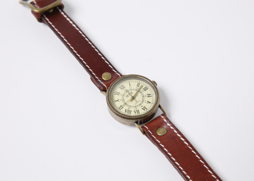 Contrast-Stitched Analog Pleather Wristwatch