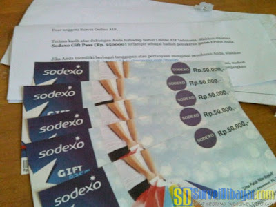 Voucher Sodexo Gift Pass dari AIP Online Survey Indonesia | Survei Dibayar