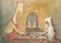 Postcard illustration of Hulmu Hukka and Haukku Spaniel baking ginger biscuits at their home before Christmas