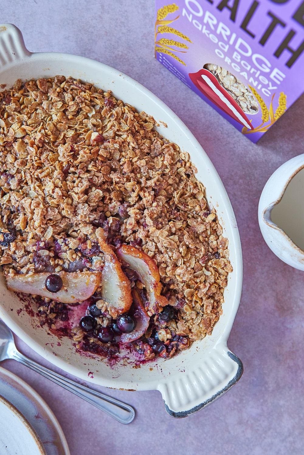 Pear, Blueberry, Ginger And Barley Crumble