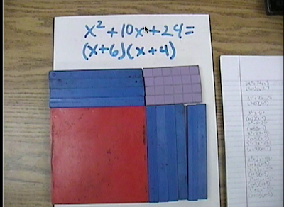 factoring polynomials, base ten blocks, manipulatives, algebra