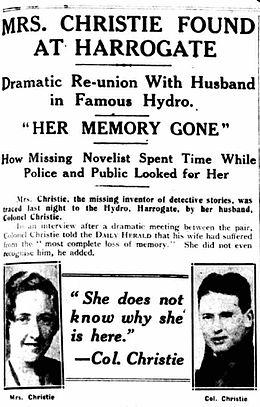 Ágatha Christie llevaba días desaparecida… Así anunciaron los periódicos el regreso de la dama...