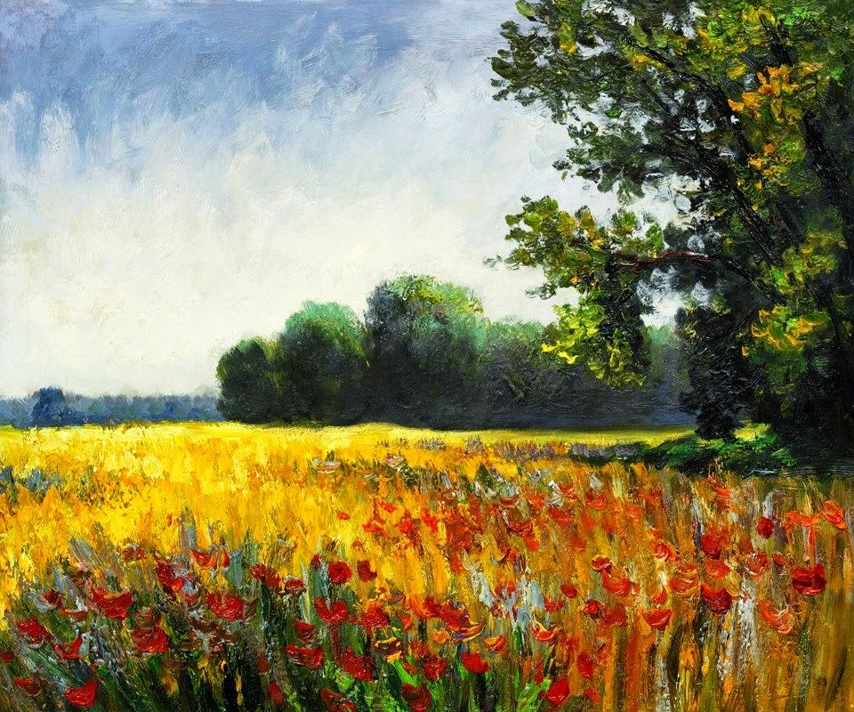 Os Campos de Aveia - Pinturas de Monet Claude | O Pai do Impressionismo