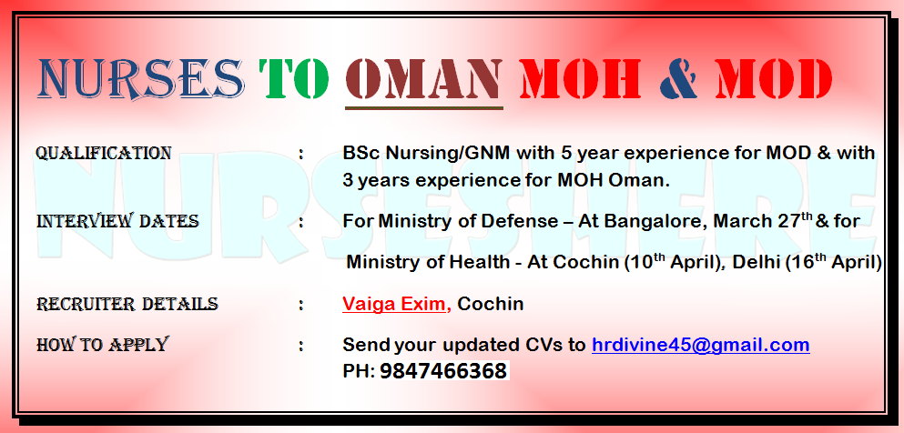 Nurses ot OMAN, Ministry of Defense and MOH March 2015
