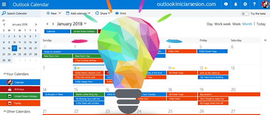 calendario de Outlook iniciar sesión