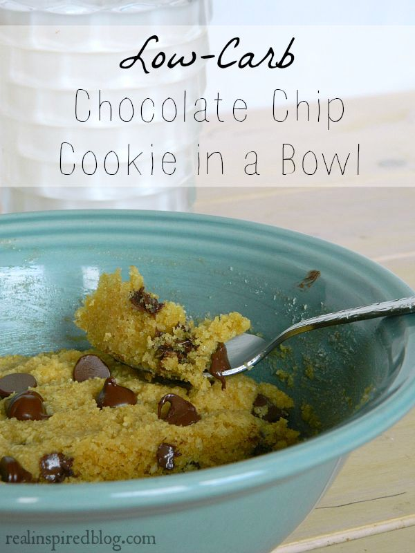 Low-carb Chocolate Chip Cookie in a Bowl