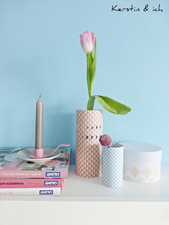 Dekoration Stillleben mit DIY-Papiervasen