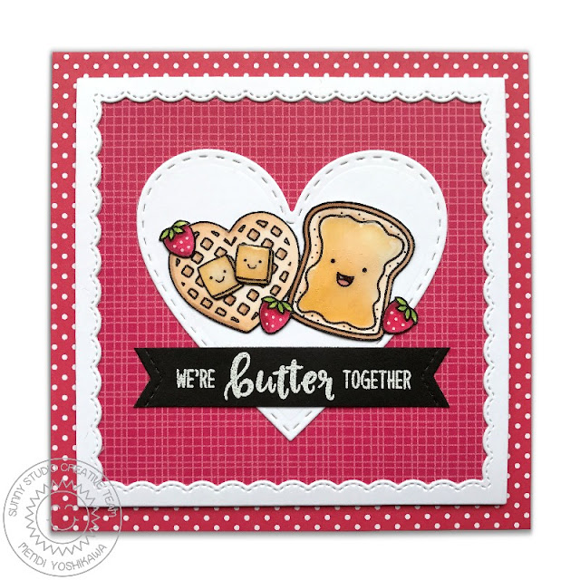 Sunny Studio Stamps: Breakfast Puns We're Butter Together Toast & Waffle Card by Mendi Yoshikawa