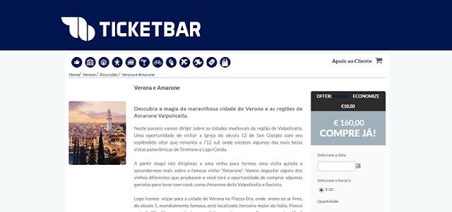 Ticketbar para ingressos para a visita a Verona e Amarone