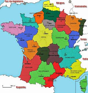 Mapa da França e suas Regiões
