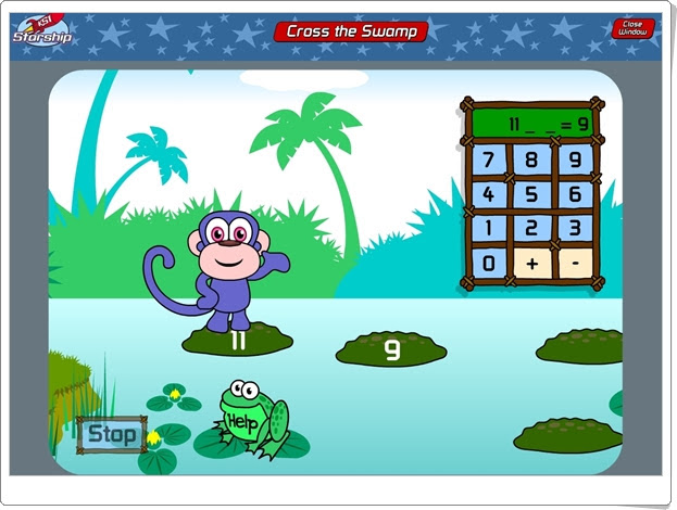 http://www.bbc.co.uk/schools/starship/maths/games/cross_the_swamp/big_sound/full.shtml