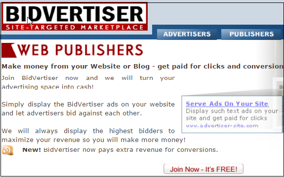 BidVertiser Webpublisher Best Alternative of Google Adsense
