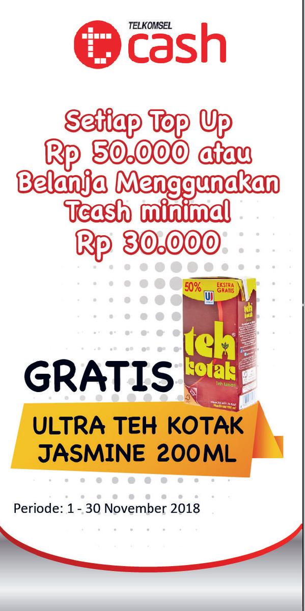Alfamidi - Promo TopUp / Belanja Pakai Tcash Gratis Teh Kotak 200 ml