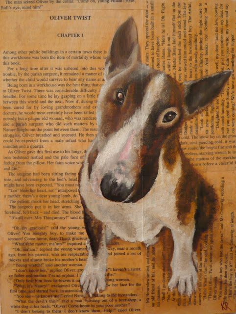 Oil painting of Bill Sykes' dog Bull's-Eye, Oliver Twist