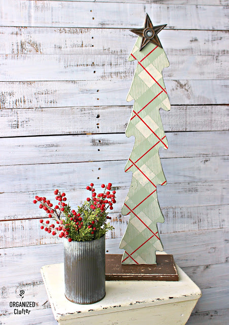 Ugly Wooden Christmas Tree Upcycle with Paint and Stencils #plaidshirt