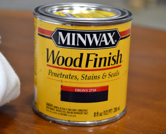 For a vintage look, I recommend Minwax stain ebony: How to Stain a Coffee Table | DIY Playbook