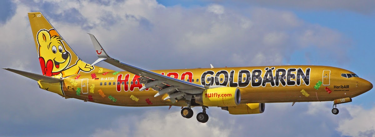TUIfly Boeing 737 8K5 D ATUD Which Wears The HaribAIR Haribo Goldbaren Logo Jet Colour Scheme Operated Their Morning Service From Palma