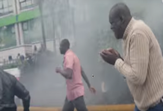 Raila was tear gassed at IEBC offices.