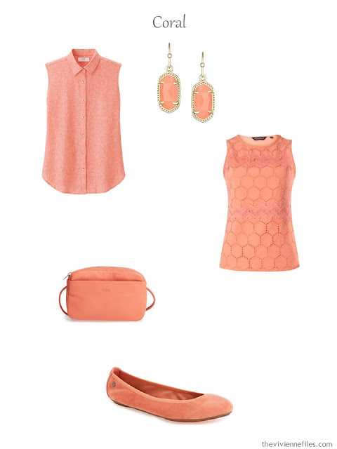 a French 5-Piece Wardrobe in coral for warmer weather