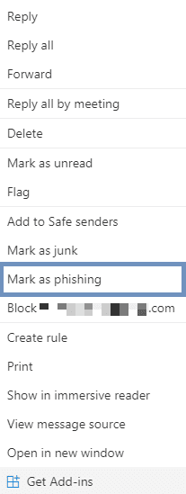 Mark as phishing outlook